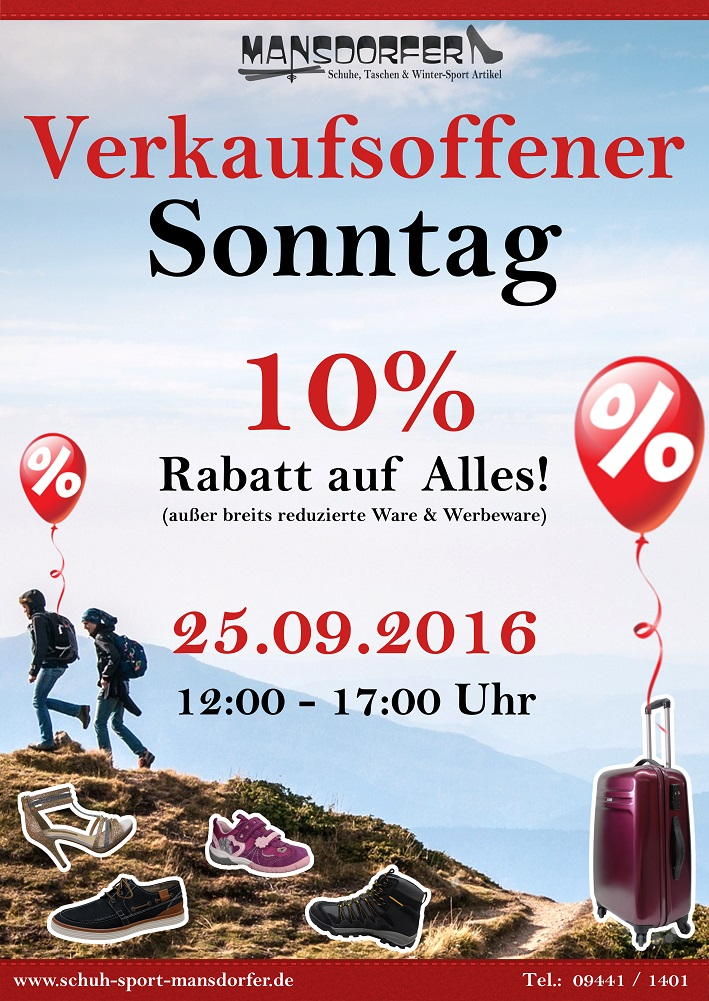 Aktuelles Verkaufsoffener Sonntag 25.09.16 Kelheim Mansdorfer Schuh-Sport-Mansdorfer Sale
