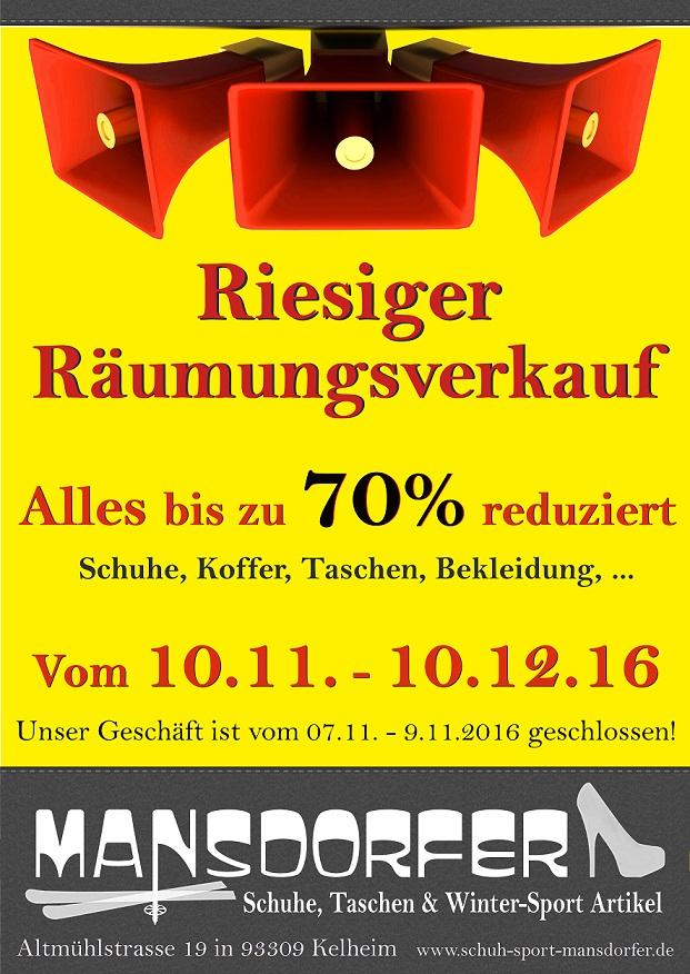 Aktuelles Räumungsverkauf Mansdorfer Kelheim Schuhe Taschen Rucksäcke Bekleidung 70% auf Alles November Dezember 2016