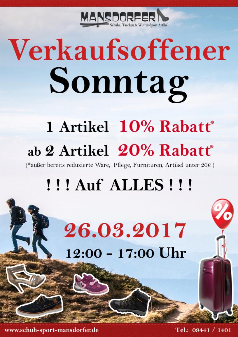 Aktuelles Verkaufsoffener Sonntag 26.03.17 Kelheim Mansdorfer Schuh-Sport-Mansdorfer Sale
