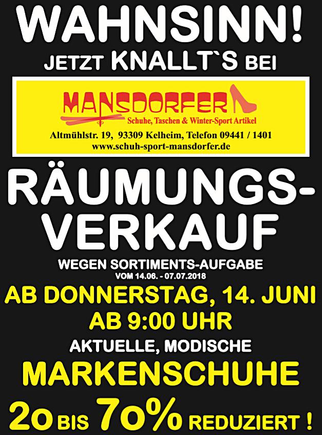 Aktuelles Räumungsverkauf Mansdorfer Kelheim Schuhe Taschen Rucksäcke Bekleidung 70% auf Alles