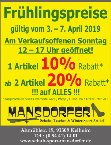 Aktuelles Verkaufsoffener Sonntag 07.04.19 Kelheim Mansdorfer Schuh-Sport-Mansdorfer Sale